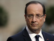 French President Francois Hollande attends a news conference with Croatian President Ivo Josipovic at the Elysee Palace in Paris
