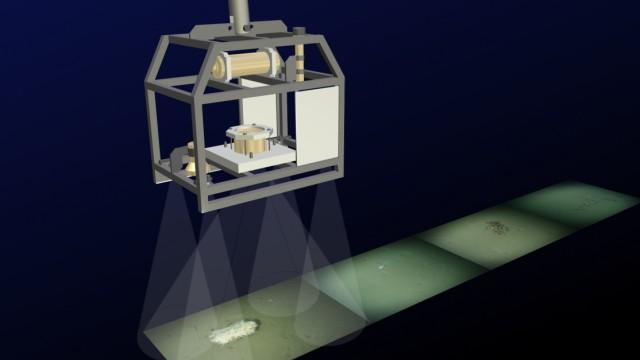 Grafische Darstellung des OFOS-Kamerasystems der HGF-MPG Brückengruppe für Tiefseeökologie und Technologie am Alfred-Wegener-Institut.