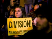 Demonstrators Protest Against Spending Cuts And The Government Of Mariano Rajoy Near The Spanish Congress