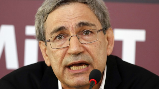 File photo of Nobel-winning Turkish author Pamuk at a news conference in Istanbul
