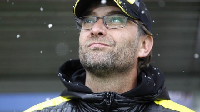 Borussia Dortmund's coach Klopp reacts ahead of the German first division Bundesliga soccer match against SC Freiburg in Freiburg