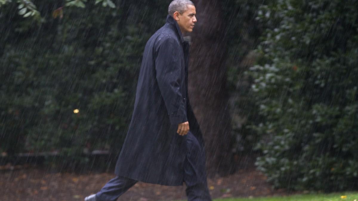Obama Und Der Wahlkampf Im Regen Ist Auch Dieses Motiv