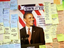 The walls are lined with the upcoming weekends canvassing efforts at the North Shore Obama for America office in Glendale