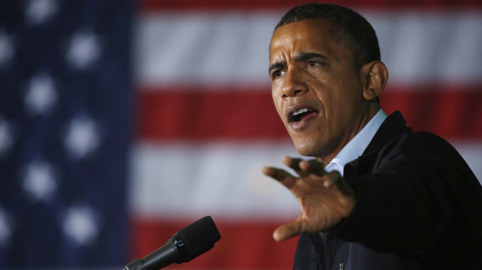 U.S. President Obama participates in a campaign rally in Hilliard