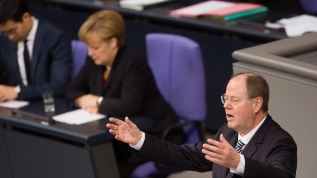 Bundestag Merkel Steinbrück