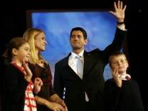 Republican vice presidential candidate Paul Ryan and his wife Janna wave to supporters during his election night rally in Boston