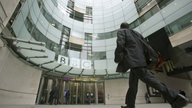The BBC headquarters at New Broadcasting House is seen in London