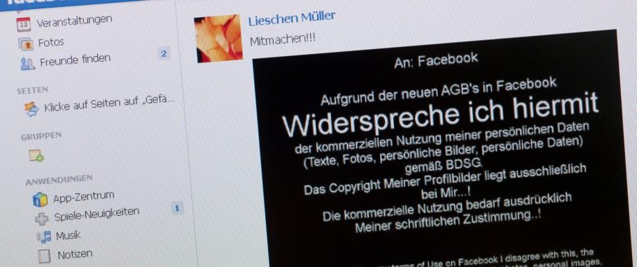 Facebook: AGB-Widerspruch auf Chronik bringt nichts
