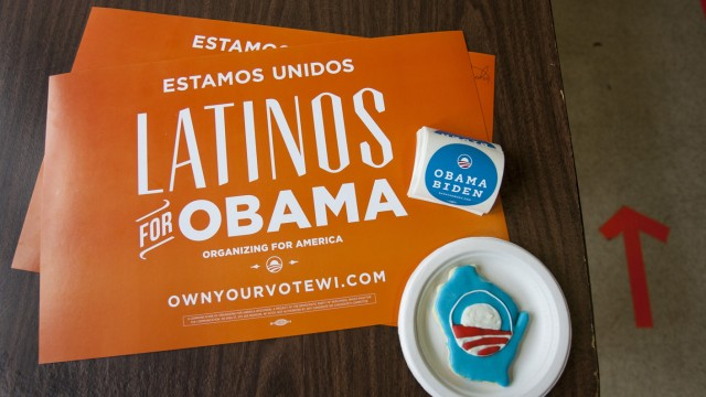 File photo of placards and campaign stickers at the Latino regional headquarters for the Obama campaign in Milwaukee