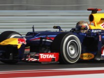 Red Bull Formula One driver Vettel drives during the third practice session of the U.S. F1 Grand Prix in Austin