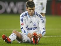 Schalke 04's Huntelaar reacts during his team's match against Bayer Leverkusen in their first division Bundesliga soccer match in Leverkusen