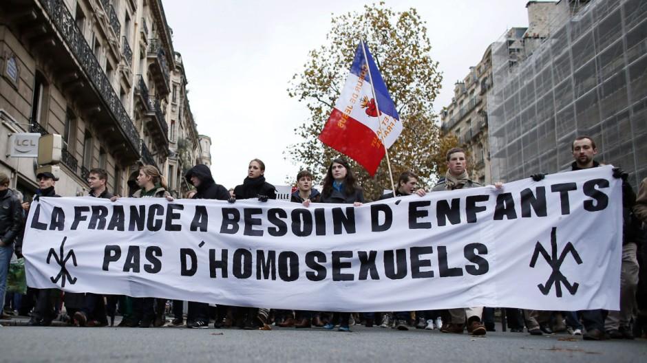 Demonstrationen gegen die Homo-Ehe, Paris, Frankreich