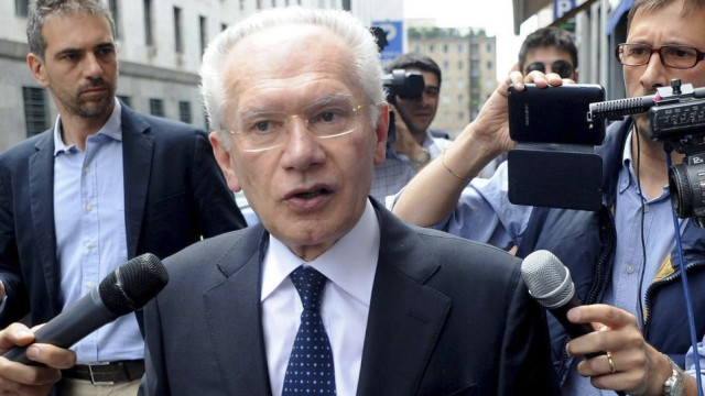 File photo of Giuseppe Spinelli, former prime minister Berlusconi's accountant , as he leaves tribunal in Milan
