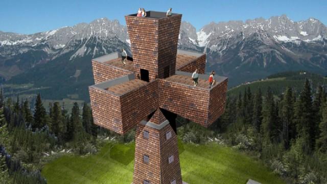 Österreich Tirol Pillersee Kreuz begehbares Gipfelkreuz Buchensteinwand