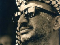 An undated picture handed out by the Palestinian Authority shows Palestinian President Yasser Arafat during his stay in Lebanon