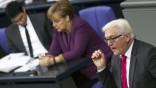 SPD parliamentary faction leader Steinmeier speaks at Bundestag in Berlin before house votes on financial help for Greece