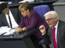 SPD parliamentary faction leader Steinmeier speaks at Bundestag in Berlin before house votes on financial help for Greece