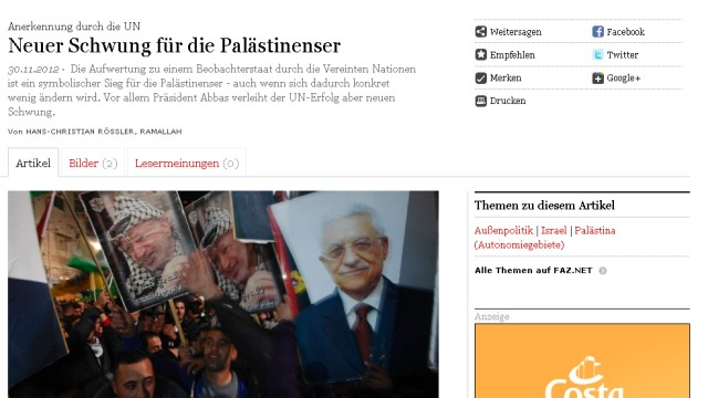 UN Palästinenser Presseschau Screenshot