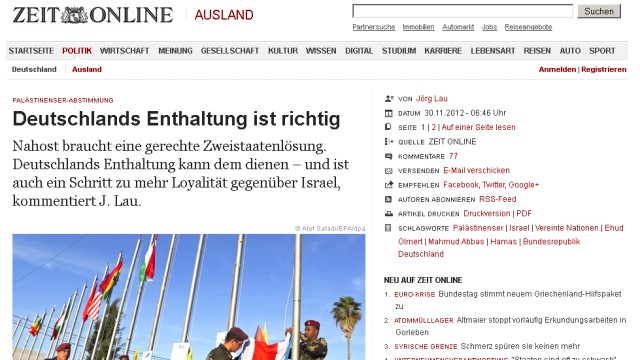 UN Palästinenser Presseschau Screenshot