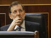 Spain's Prime Minister Mariano Rajoy attends a parliamentary session at Spanish parliament in Madrid