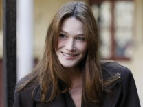 France's former First Lady Carla Bruni-Sarkozy arrives at the 152nd Hospices de Beaune Burgundy Wine Auction in Beaune