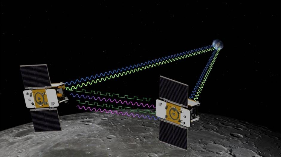 Die Grail-Satelliten Ebb (Ebbe) und Flow (Flut) funken ihre Position zur Erde und halten auch untereinander Kontakt. So lässt sich jede winzige Abweichung ihrer Flugbahn messen, die auf Veränderungen