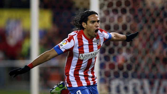 Atletico Madrid's Falcao celebrates his goal against Deportivo La Coruna during their Spanish first division soccer match in Madrid