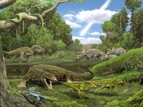Dinosaurier und Schuppenkriechtiere vor dem Einschlag des Asteroiden
