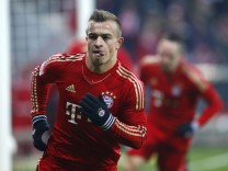 Bayern Munich's Shaqiri celebrates after scoring a goal during their German Bundesliga first division soccer match in Munich