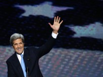 File photograph of U.S. Senator Kerry waving at the end of his speech during the Democratic National Convention in Charlotte