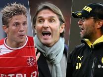 Klopp, coach of Borussia Dortmund gestures during their German first division Bundesliga soccer match against Hoffenheim in Sinsheim