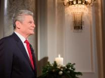 Joachim Gauck bei der Weihnachtsansprache im Berliner Schloss Bellevue.