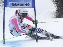 Rebensburg of Germany clears a gate during the first run of the World Cup Women's Giant Slalom race in Semmering