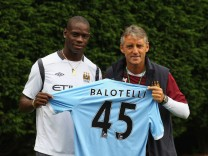 FILE: Mario Balotelli Of Manchester City Involved In Training Ground Altercation With Manager Roberto Mancini Mario Balotelli Presentation At Manchester City
