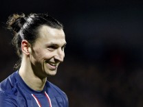Paris Saint-Germain's Zlatan Ibrahimovic reacts during their French Ligue 1 soccer match against Stade Brest at the Francis Le Ble stadium in Brest