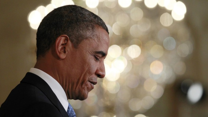 U.S. President Barack Obama during a news conference in the East Room of the White House in Washington