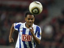 Hertha Berlin's Raffael runs for the  ball during his team's  German first division Bundesliga soccer match against FC Cologne in Cologne