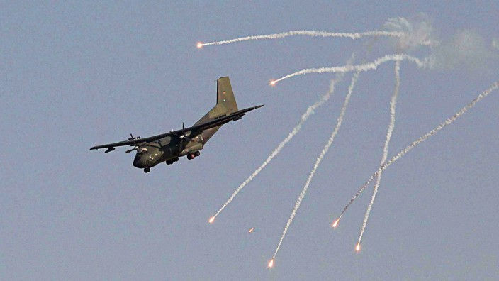 File photo of Transall C-160 releasing flares as it lands during the visit of German President  to Mazar-i-Sharif
