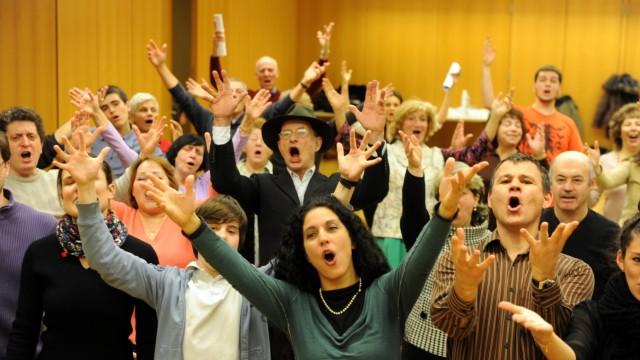 """Proben zum Musical """"Anatevka"""" in der Jüdischen Gemeinde in München, 2011"""