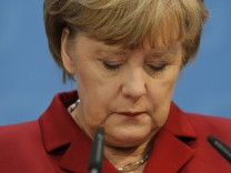 German Chancellor Merkel is pictured during a news conference at the CDU headquarters in Berlin