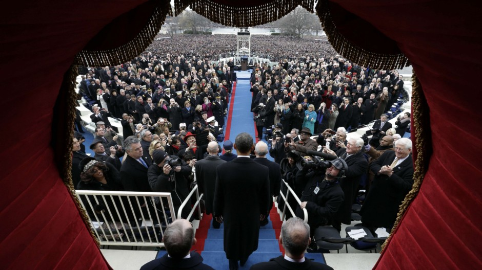 Unvergesslicher Blick: Obama nach seinem Amtseid vor dem Kongress