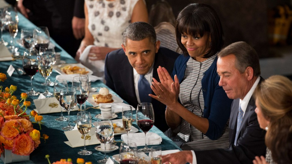 Barack und Michelle Obama mit John Boehner beim Gala-Essen zur Inauguration