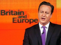 Britain's Prime Minister Cameron delivers a speech in central London