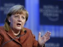 Angela Merkel bei ihrer Rede vor dem Weltwirtschaftsforum in Davos.