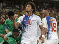 Cape Verde's Ryan Mendes celebrates their goal against Morocco by teammate Platini during their African Nations Cup Group A soccer match in Durban