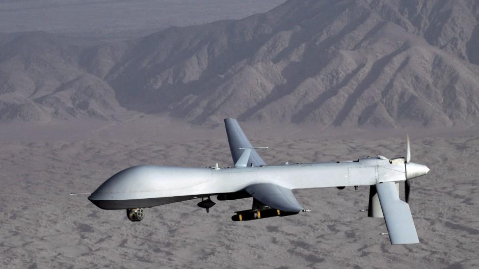 Eine Drohne von Typ MQ-1 Predator der US Air Force Kampfdrohne