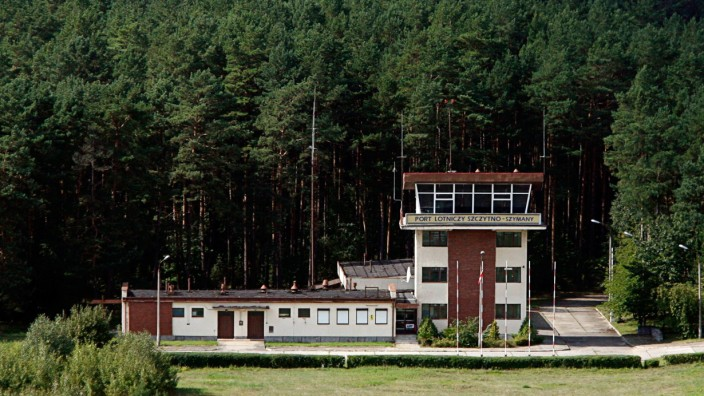 File picture shows aerial view of a watchtower at an airport in Szymany, close to Szczytno in northeastern Poland