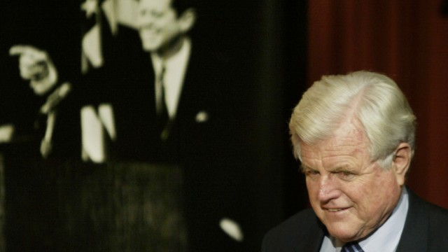 Senator Kennedy arrives for an awards ceremony at JFK School of Government at Harvard