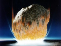 ARTISTS CONCEPTION OF ASTEROID STRIKING EARTH