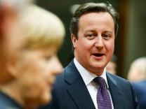 Merkel und Cameron in Brüssel beim EU-Gipfel